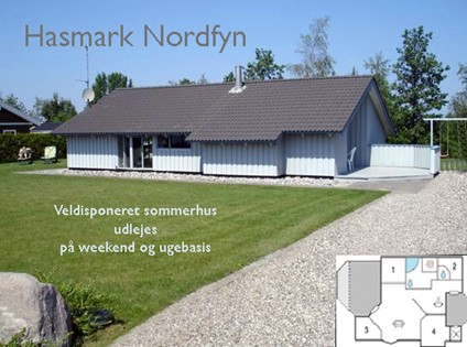 8 pers. luksus træsommerhus på 87m2, 200 m til Fyns bedste badestrand i Hasmark.
